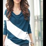 Áo thun nữ dài tay họa tiết chéo đơn giản (1)