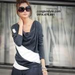 Áo thun nữ dài tay họa tiết chéo đơn giản (3)