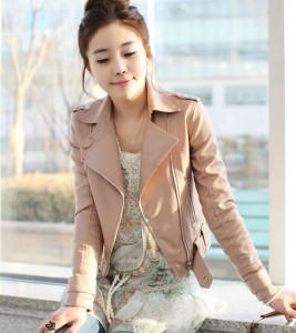 Áo khoác nữ chất liệu da sành điệu