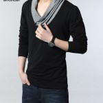 Áo thun nam dài tay cách điệu cổ chữ V sơ mi (3)
