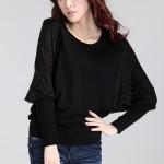 Áo thun nữ dài tay cánh doi, cách điệu cổ tay, chân áo bằng len (2)