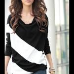 Áo thun nữ dài tay họa tiết chéo đơn giản (2)