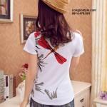 Áo thun nữ cộc tay in họa tiết đơn giản (1)