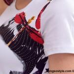 Áo thun nữ cộc tay in họa tiết đơn giản (2)