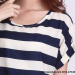 Áo thun nữ cộc tay sọc ngang đơn giản (1)