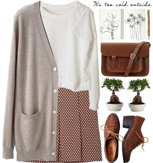 Áo len lửng, váy xếp ly, áo len cardigan