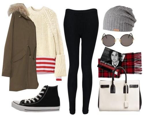 Áo len over size, áo khoác cổ lông, quần legging