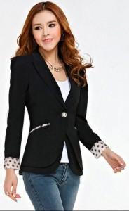 Áo vest nữ cách điệu chấm bi cổ tay, túi áo