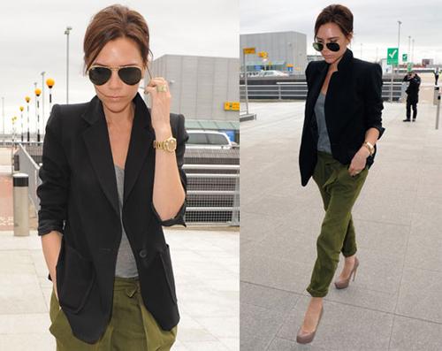 Ngẫu hứng hơn khi cố tình phá bỏ sự khuôn mẫu của chiếc áo blazer đen khi mặc cùng quần baggy màu sáng.