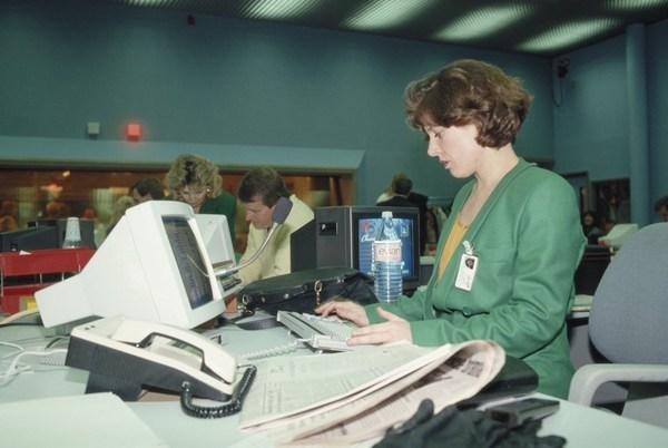 Ngày 5/2/1989, một nhân viên văn phòng của Sky TV tại London.